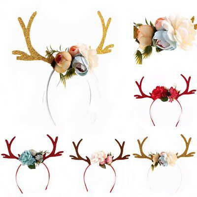 Ladies Girl Flower Deer Antler Costume Ear Party Hairband Head band XMAS Holiday
