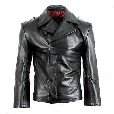 German Black Leather Panzer/U-Boat Wrap - WW2 Repro leather Jacket