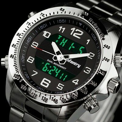 INFANTRY Mens Digital Quartz Wrist Watch Date Chrono Army Sport Stainless Steel