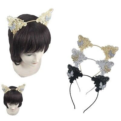 12pcs Lace Cat Animal Ear Headband Kitten Halloween Hair Band Accessory Costume