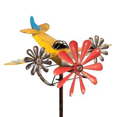 3-Prop YELLOW Flugzeug Gartenstecker Windspiel Propeller