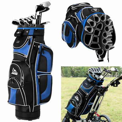 NEW Golf Cart Bag 14 Way Top Dividers 12 Pockets (1 Insulated) 7.5lbs  Blue Black 9ceaecec8661f
