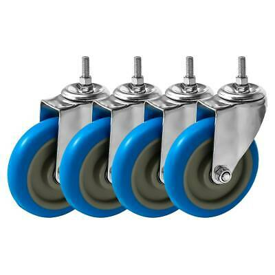 4 Pack 5 Inch Stem Caster Swivel Blue Polyurethane Heavy Duty Caster Wheels