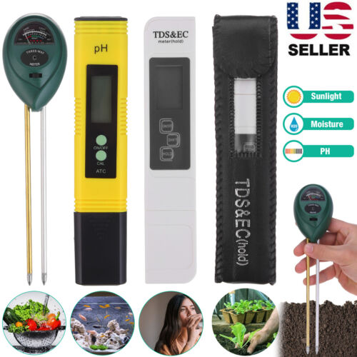 Digital PH Meter +TDS & EC Water Quality Tester +Soil Moisture Test Garden Tool