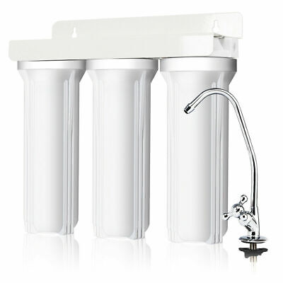 3-Stage Under-Sink Water Filter System Water Filtration with Chromed Faucet New ()