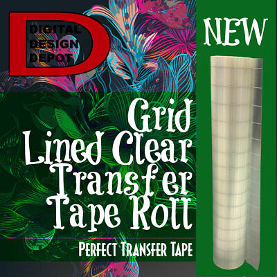 Feet Roll Clear Transfer Paper Tape With Grid For Adhesive Vinyl 12 X 10 Yards