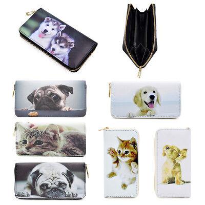 Premium Puppy & Kitty Animal Print PU Leather Zip Around Wallet - Diff Prints