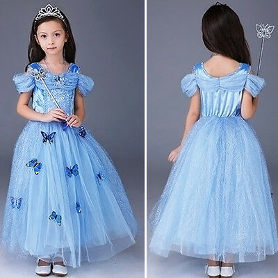 Butterfly Costumes For Children (Cinderella Princess Butterfly Party Dress Kids Costume Dresses for girls 4-10)