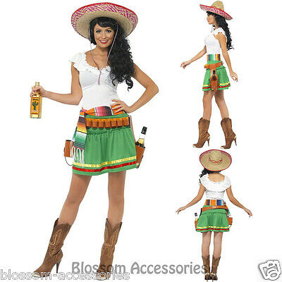 CL290 Tequila Shooter Girl Sombrero Mexican Women Ladies Fancy Adult Costume Tequila Shooter