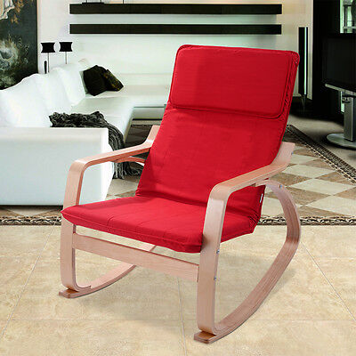 Red Rocking Lead Armchair Leisure Lounge Wood Accent Living Room Furniture New