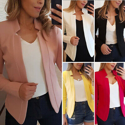 Plus Size Women Slim Blazer Casual OL Work Jacket Long Sleeve Outwear Suit Coat