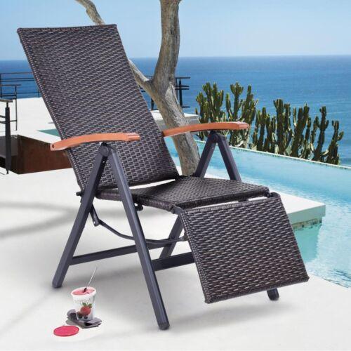 Garden Folding Rattan Aluminum Recliner Chair Rest Seats 23.