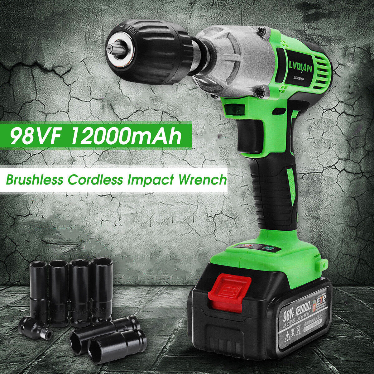98VF Cordless Brushless Impact Wrench 12000mAh 3/8'' Drive D