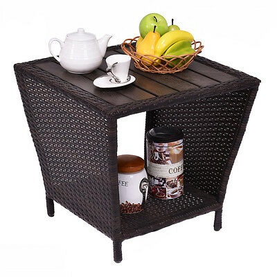 Rattan Wicker Side Sofa Coffee Table Outdoor& Indoor W/ Plastic Wood Slat Top