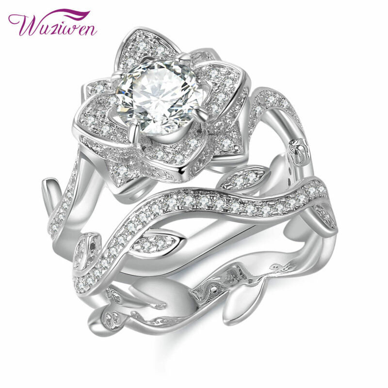 Wuziwen Flower Round White Cz 925 Sterling Silver Wedding Engagement Ring Sets