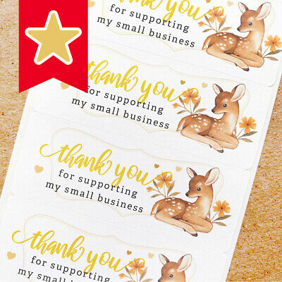 Thank You Labels Stickers For Online Shop Sellers 100ct - Deer Fawn