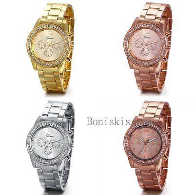Mens Women Stainless Steel Band Luxury Rhinestone Dial Analog Quartz Wrist Watch