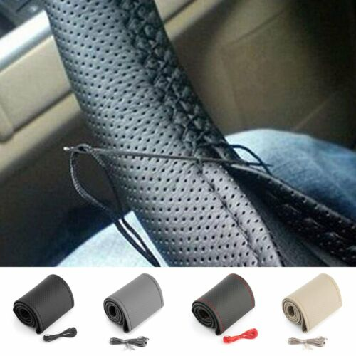 DIY 15/'/' 37-38cm PU Leather Steering Wheel Cover Non-Slip Grip w// Needle Thread