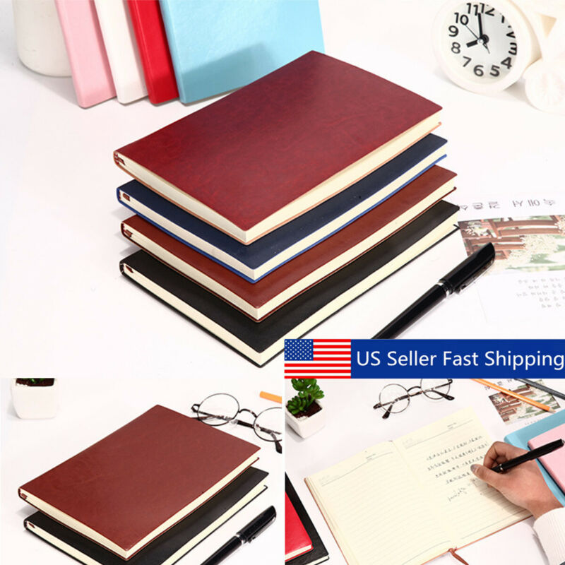 100 Page Soft Cover PU Leather Notebook Writing Journal Lined Diary Book US e
