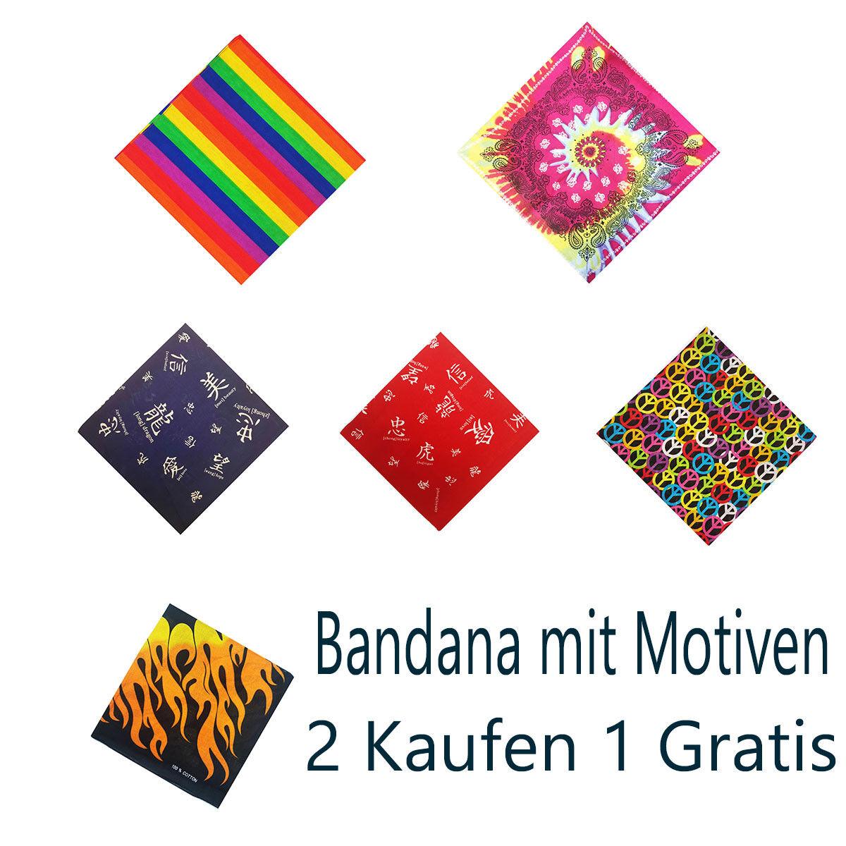 Bandana schöne Motiven Bunt Handtuch Bikertuch Motorradtuch 2 Kaufen 1 Gratis