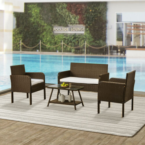 4 Pieces Outdoor Furniture Rattan Chair &Table Patio Set Out
