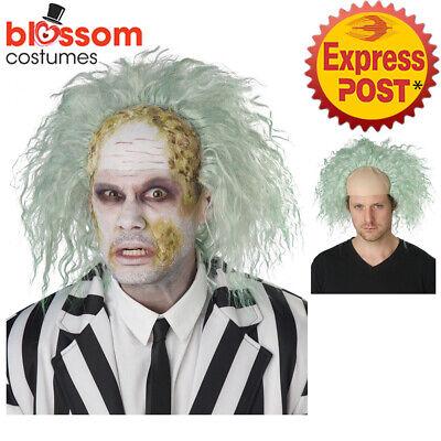 W741 Obnoxious Ghost Bald Cap Costume Wig Zombie Mad Scientist Evil Halloween