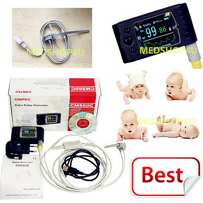 New Neonatal Infant Pediatric Kids Born Pulse Oximeter Spo2 Monitor Usb Cms60c