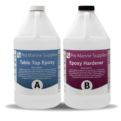 Table Top Epoxy Crystal Clear Resin Coating For Wood And Bar - 1 Gallon Kit