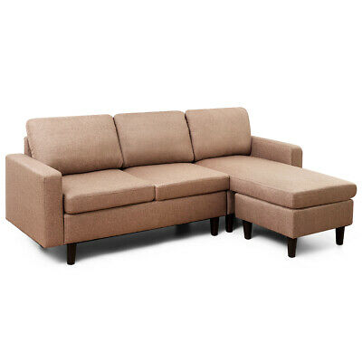 Convertible Sectional Sofa Couch Linen L-Shaped Couch w/Reversible Chaise Coffee