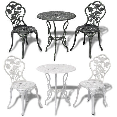 Outdoor Patio Furniture 3pcs Cast Aluminum Bistro Set Antique Rose White/Green