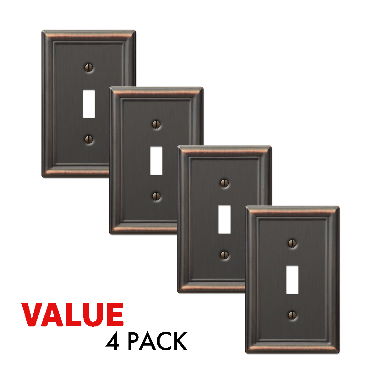 Value 4-Pack Toggle Wall Plate Light Switch Wallplate, Oil Rubbed Bronze Electrical Outlets, Switches & Accessories