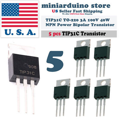 5pcs Tip31c Npn 3a 100v Power Transistor To-220 Bipolar 40w
