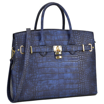 Women Handbag Croco Faux Leather Satchel Briefcase Shoulder Tote Bag Large Purse