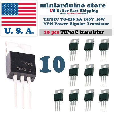 10pcs Tip31c Npn 3a 100v Power Transistor To-220 Bipolar 40w
