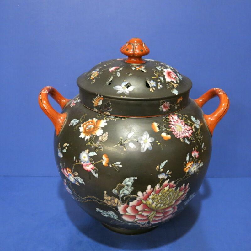 RARE Wedgwood Black Basalt Potpourri Jar w Lid and Cover