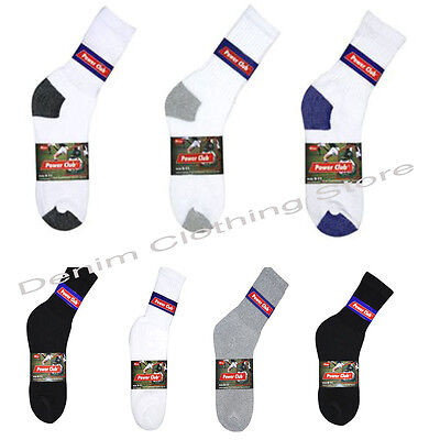 Купить Power Club, Millennium - 1 DOZEN 4-12 PAIRS MEN SOLID SPORTS COTTON CREW SOCKS 3 COLORS SIZE 9-11 & 10-13
