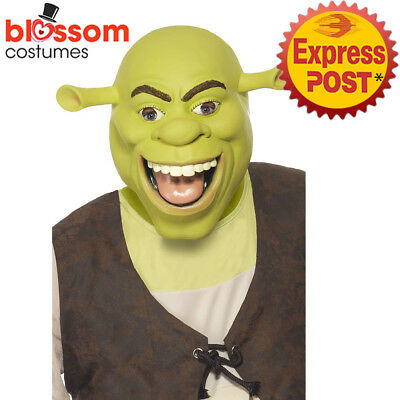 AC104 Shrek Latex Mask Licensed Film Green Halloween Cartoon Costume Accessory ()