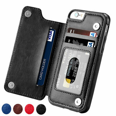 For iPhone XS Max XR 8 7 6SPlus Leather Wallet Card Holder Case Flip Stand Cover