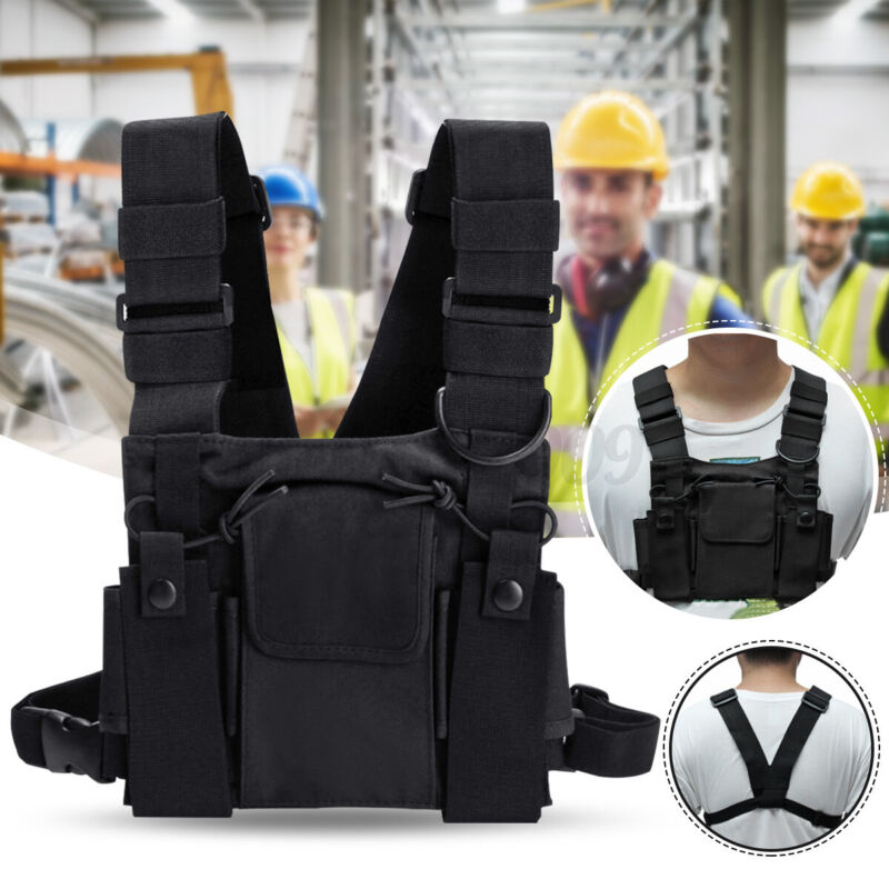 Front Chest Pack Bag Harness 3 Pockets For Motorola Baofeng Walkie Talkie Radio