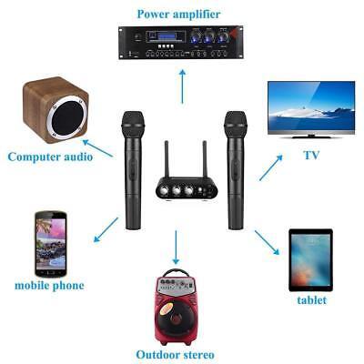 Black UHF Wireless Hand Held Microphone Mic System Karaoke Bluetooth w/ Mixer Uhf Wireless Karaoke Microphone System