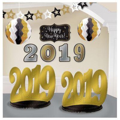 2019 New Years Eve Graduation Room Decorating Kit 10 Pc Black Gold Silver](New Years Eve Decoration)