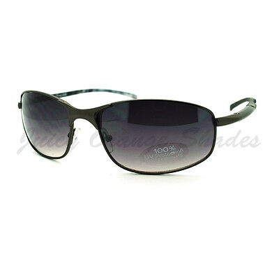 Mens Sunglasses Sporty Oval Metal Wrap Around (Metal Wrap Around Sunglasses)