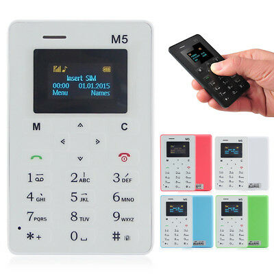 M5 Smallest Cell Phone Credit Card Size Micro SIM Unlock GSM Mini Mobile Phone