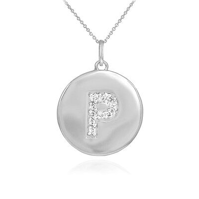 "10k White Gold Letter ""P"" Initial Diamond Disc Charm Pendant Necklace"