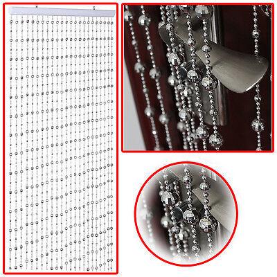 SILVER ROUND BEADED CURTAIN HANGING GLAMOROUS DISCO BALLS BLIND DECORATIVE LARGE ()