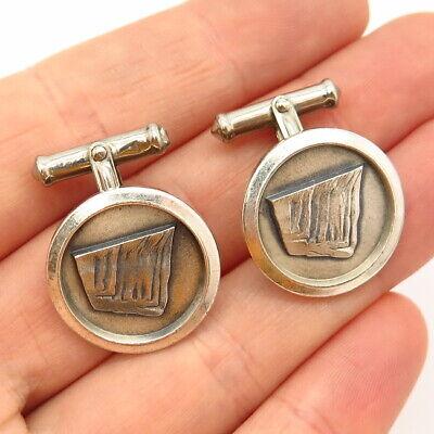 925 Sterling Silver Vintage USA Carved Design Round Cufflinks
