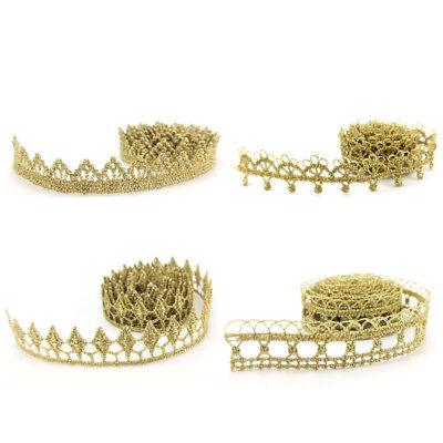 1 Yard Crochet Gold  Embroidery Lace Trim Ribbon Wedding Dress DIY Craft Decor - Gold Lace