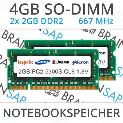 4GB (2x 2GB) DDR2 RAM PC2-5300S 2Rx8 667 MHz Notebook Laptop Speicher CL5