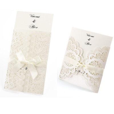 10x Laser Cut Ribbon Personalised Handmade Wedding Invitations Envelopes -