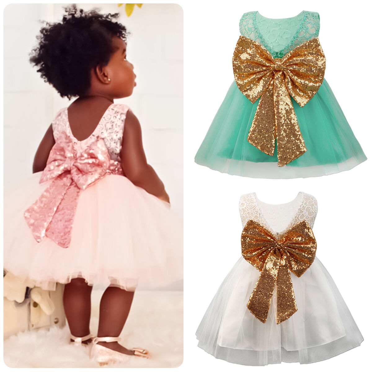 96e75f17bb89 Details about Toddler Child Baby Girl Pageant Gown Sequin Bow Tulle Lace  Party Birthday Dress